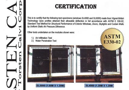 ใบผ่านการทดสอบ ASTM E330-02